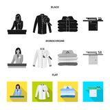 Vector illustration of laundry and clean icon. Collection of laundry and clothes vector icon for stock. Isolated object of laundry and clean symbol. Set of royalty free illustration