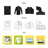 Vector illustration of laundry and clean icon. Collection of laundry and clothes stock symbol for web. Isolated object of laundry and clean symbol. Set of royalty free illustration
