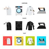 Vector illustration of laundry and clean icon. Collection of laundry and clothes stock vector illustration. Isolated object of laundry and clean symbol. Set of royalty free illustration