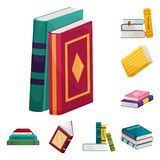 Isolated object of library and bookstore  logo. Collection of library and literature  stock symbol for web. Vector design of library and bookstore  icon. Set of royalty free illustration