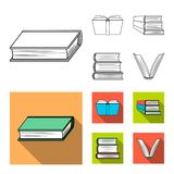Isolated object of library and textbook icon. Collection of library and school vector icon for stock. Vector design of library and textbook symbol. Set of stock illustration