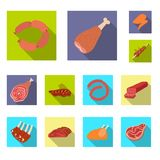 Isolated object of meat and ham symbol. Set of meat and cooking stock symbol for web. royalty free illustration