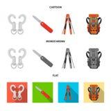 Vector illustration of mountaineering and peak symbol. Collection of mountaineering and camp stock vector illustration. stock illustration