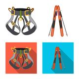 Isolated object of mountaineering and peak symbol. Collection of mountaineering and camp vector icon for stock. Vector design of mountaineering and peak sign stock illustration