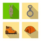 Isolated object of mountaineering and peak symbol. Set of mountaineering and camp stock symbol for web. Vector design of mountaineering and peak sign stock illustration