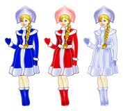 Snow Maiden in three colors. Isolated object of Snow-Maiden in three colors Stock Images