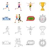 Isolated object of sport and winner logo. Collection of sport and fitness stock symbol for web. Vector design of sport and winner icon. Set of sport and fitness vector illustration