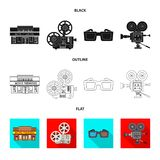 Isolated object of television and filming icon. Collection of television and viewing stock symbol for web. Vector design of television and filming symbol. Set royalty free illustration