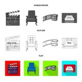 Isolated object of television and filming icon. Set of television and viewing stock symbol for web. Vector design of television and filming symbol. Collection stock illustration