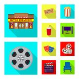 Isolated object of television and filming icon. Set of television and viewing stock symbol for web. Vector design of television and filming symbol. Collection royalty free illustration