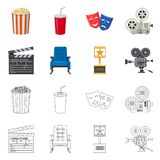 Isolated object of television and filming symbol. Collection of television and viewing vector icon for stock. Vector design of television and filming sign. Set stock illustration