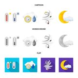 Isolated object of weather and climate symbol. Set of weather and cloud vector icon for stock. stock illustration