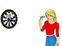 Isolated object on white background girl cries and plays in a wall mounted shooting gallery. Dart in a photo of a man. Imitation comic style. vector Royalty Free Stock Photography