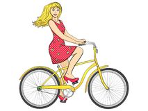 Isolated object on white background point. with sun rays. Young beauty woman ride bicycle retro vector. Isolated object on white background point. sun rays vector illustration