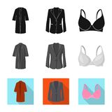 Vector illustration of woman and clothing symbol. Collection of woman and wear vector icon for stock. stock illustration