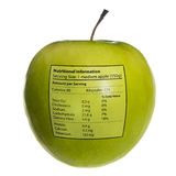 Isolated objects: apple with nutritional info. Apple with nutritional information stamped on it. (The values shown are an average of various sources - close to stock photos