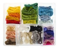 Isolated objects: box of embroidery thread Royalty Free Stock Image
