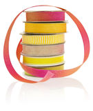Isolated objects: craft ribbons. Set of 6 spools of ribbon, isolated on a white background stock images