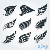 Set of vintage wings. Silhouette for logo, tattoo, design. stock illustration