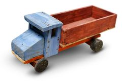 Old wooden toy, generic auto truck Royalty Free Stock Photo