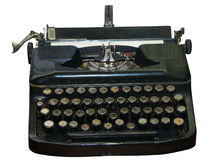 Isolated obsolete vintage typewriter. With cyrillic keyboard Royalty Free Stock Image