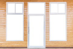 Free Isolated Of Door And Windows Frame On Bright Pine Wooden Wall Stock Photography - 81030632