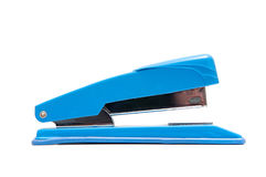Isolated office stapler. Blue stapler isolated on white background Royalty Free Stock Photography