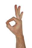 Isolated okay hand sign. An isolated okay hand sign with clipping path Royalty Free Stock Photo