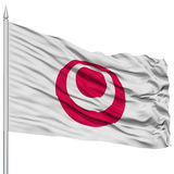 Isolated Okinawa Japan Prefecture Flag on Flagpole Royalty Free Stock Photography