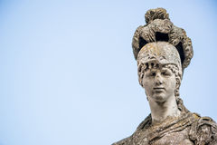 Isolated old antique female sculpture on the sky background Royalty Free Stock Photo