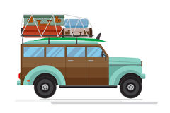 Isolated old car with big luggage on the roof. Flat design.. Isolated old car with big luggage on the roof. Flat design. Vector. Isolated on white background Royalty Free Stock Photo