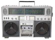 Isolated a old Cassette player. From 70s royalty free stock photo