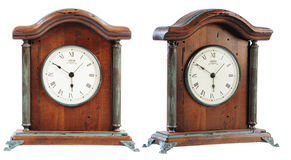 Isolated old- fashioned classic wooden clock Stock Photos