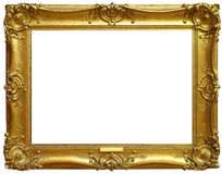 Isolated Old Gold Frame. Ornate bright gold picture frame isolated on white background Stock Image
