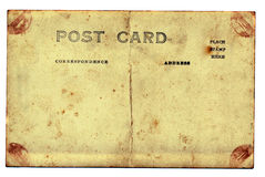 Isolated old and grungy postcard background Royalty Free Stock Photos