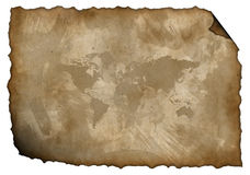 Isolated old paper with a map Royalty Free Stock Photography