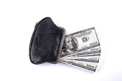 Isolated old purse whith money Stock Images