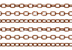 Old rust chain isolated. Rustic iron chains viewing from different angles, Isolated chain rusty textures. PNG with transparent background Stock Photos
