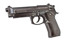 Isolated old semi automatic handgun Royalty Free Stock Image