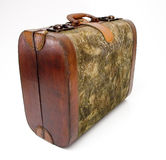 Isolated Old Suitcase. An old suitcase isolated against a white background stock photo
