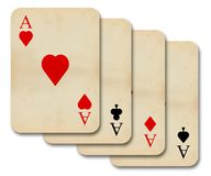Isolated old vintage aces cards. Isolated old vintage aces playing cards Royalty Free Stock Image