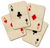 Isolated old vintage aces cards. Isolated old vintage aces playing cards Royalty Free Stock Images