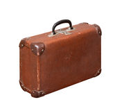 Isolated Old Vintage Dusty Brown Suitcase Stock Images