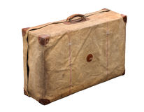 Isolated Old Vintage Dusty Suitcase in a cover Royalty Free Stock Image