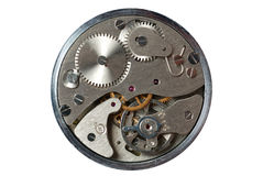 Isolated old watch. Old watch - the device. The internal mechanism of watch - a photo close up royalty free stock photos