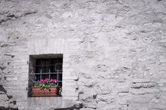 Isolated old window with gratings and a vase of violet flowers royalty free stock image