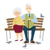 Old couple sitting. Isolated old woman and man sitting on bench in park stock illustration