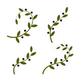 Isolated olive branch vector logo set. Oil logotypes collection. Peace day. stock illustration