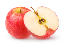 Isolated one and a half red apples Royalty Free Stock Photo