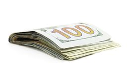 Isolated One Hundred Dollar Bills Royalty Free Stock Photography